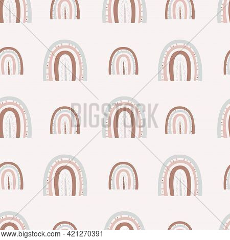 Boho Rainbows. Seamless Rainbow Pattern With Dots And Lines Of Two Sizes On A Light Background.