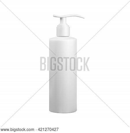 White Plastic Cosmetics Hdpe Bottle With Dispenser Mockup