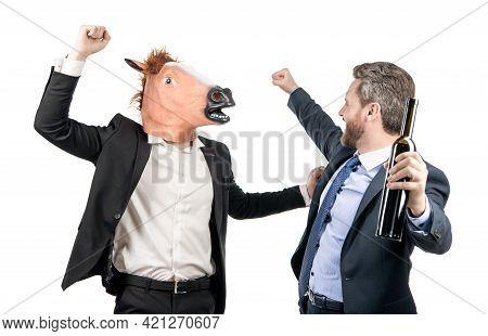 Corporate Celebration. Drunk Businessmen Celebrate Success. Enjoying Work Celebration. Staff Party