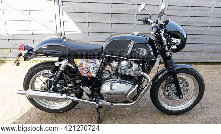 Bordeaux , Aquitaine France - 05 18 2021 : Royal Enfield Black Racing Cafe Racer Continental Gt Neo