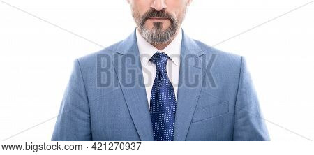 Cropped Grizzled Boss In Businesslike Suit Isolated On White, Formalwear