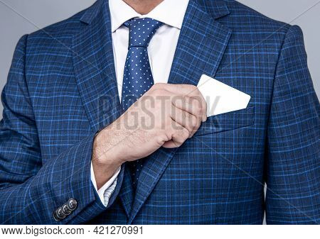 Presenting His Visiting Card. Male Hand Pull Visiting Card Out Of Pocket. Business Information