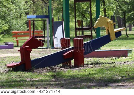 Playground In The Park For Children. Children Play In The Playground.