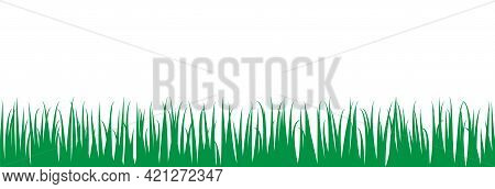 Green Grass Pattern. Seamless Lawn And Hay Meadow Texture. Vector Illustration Image. Silhouette Sha