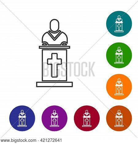 Black Line Church Pastor Preaching Icon Isolated On White Background. Set Icons In Color Circle Butt