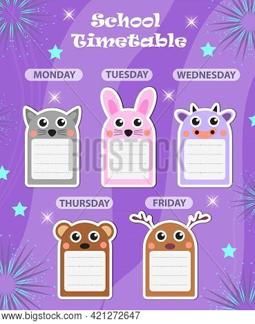 Weekly School Timetable Template With Cute Design Elements. Weekday Planner For Kids. Vector Illustr