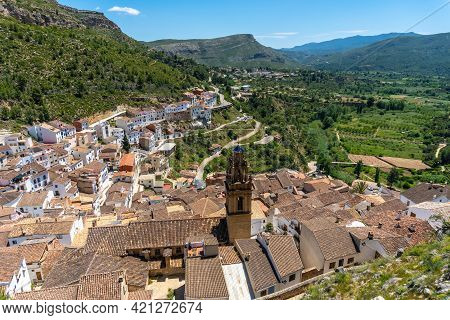 View Of The Town From The Castle Of The Town Of Chulilla In The Mountains Of The Valencian Community