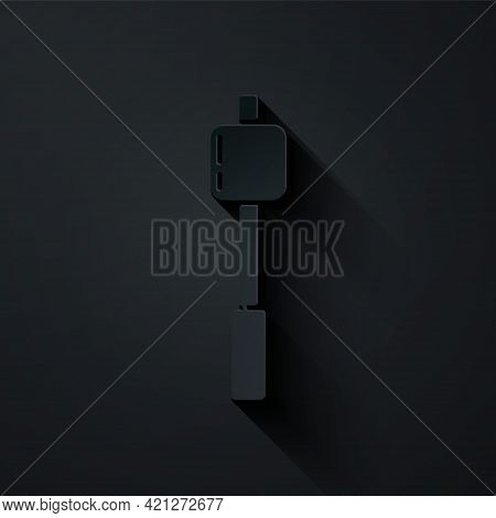 Paper Cut Marshmallow On Stick Icon Isolated On Black Background. Paper Art Style. Vector Illustrati