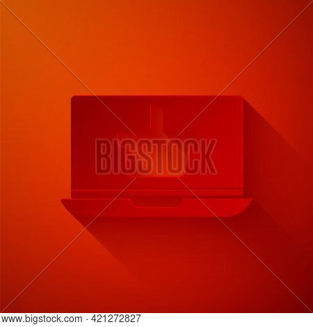 Paper Cut Shopping Basket On Screen Laptop Icon Isolated On Red Background. Concept E-commerce, E-bu