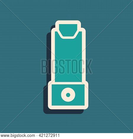 Green Inhaler Icon Isolated On Green Background. Breather For Cough Relief, Inhalation, Allergic Pat