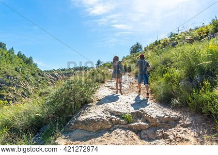 Route Of The Pantaneros Towards The Hanging Bridges In The Loriguilla Reservoir. Chulilla Town In Th