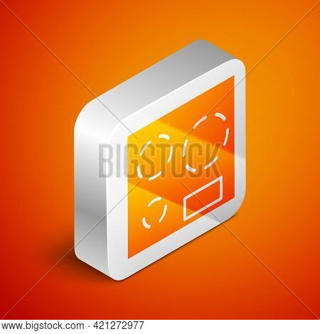 Isometric Electric Stove Icon Isolated On Orange Background. Cooktop Sign. Hob With Four Circle Burn