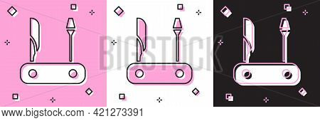 Set Swiss Army Knife Icon Isolated On Pink And White, Black Background. Multi-tool, Multipurpose Pen