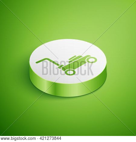 Isometric Lawn Mower Icon Isolated On Green Background. Lawn Mower Cutting Grass. White Circle Butto
