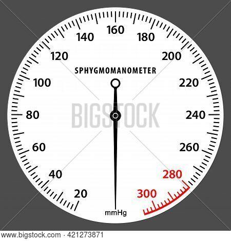 Sphygmomanometer Dial. Blood Pressure Measurement Scale. Pressure Gauge