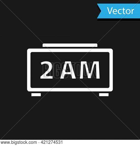 White Digital Alarm Clock Icon Isolated On Black Background. Electronic Watch Alarm Clock. Time Icon