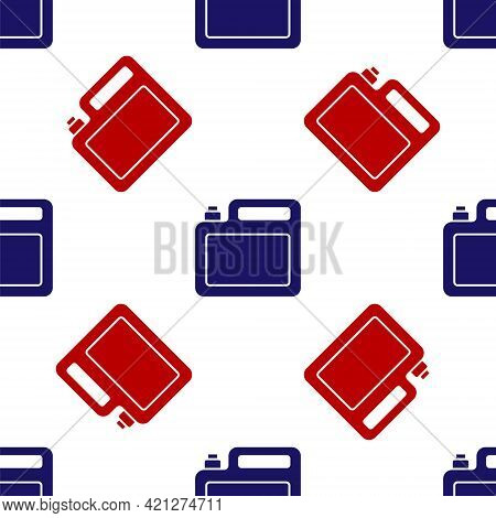 Blue And Red Canister For Motor Machine Oil Icon Isolated Seamless Pattern On White Background. Oil