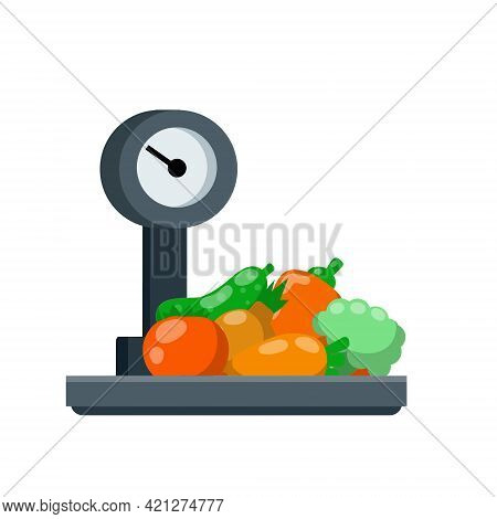 Vegetables On The Scales. Shopping In A Grocery Store. Weighing Of Farm Products. Decoration For The