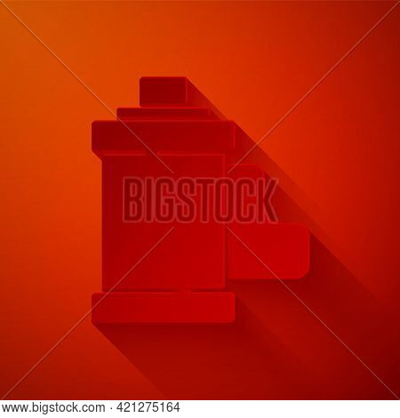 Paper Cut Camera Vintage Film Roll Cartridge Icon Isolated On Red Background. 35mm Film Canister. Fi