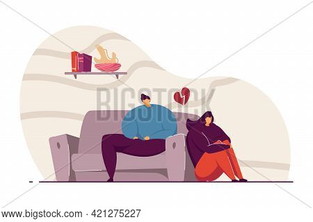 Young Couple Having Argument Vector Illustration. Man And Woman Thinking About Misunderstanding Betw
