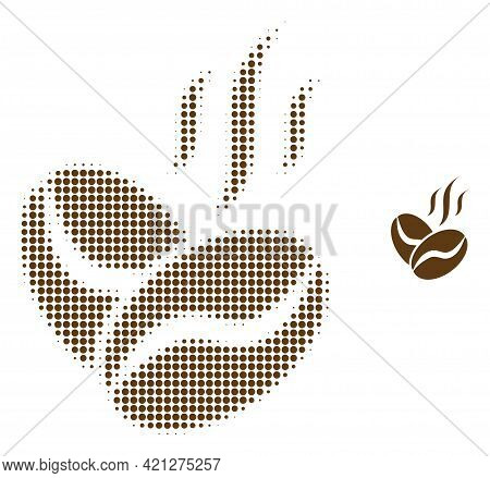 Coffee Beans Aroma Halftone Dot Icon Illustration. Halftone Array Contains Circle Pixels. Vector Ill