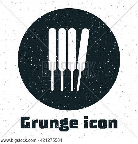 Grunge Aroma Sticks, Incense, Aromas Icon Isolated On White Background. Monochrome Vintage Drawing.