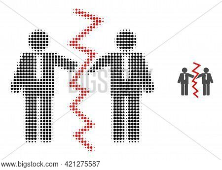 Businessmen Divorce Halftone Dotted Icon Illustration. Halftone Array Contains Round Elements. Vecto