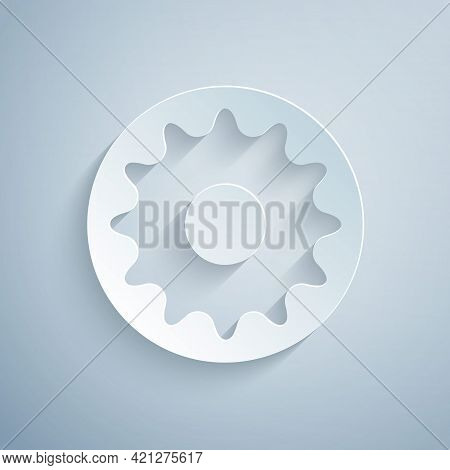 Paper Cut Chakra Icon Isolated On Grey Background. Paper Art Style. Vector