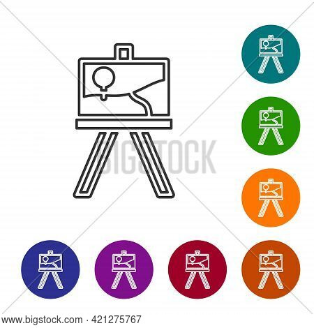 Black Line Wood Easel Or Painting Art Boards Icon Isolated On White Background. Set Icons In Color C