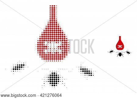 Cockroach Poison Halftone Dotted Icon Illustration. Halftone Array Contains Round Points. Vector Ill