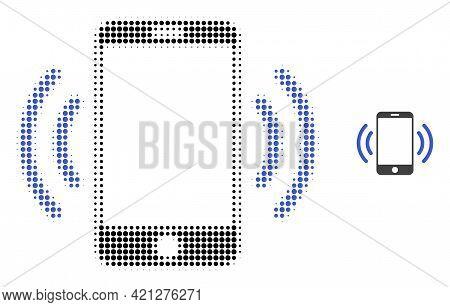 Cellphone Vibration Halftone Dot Icon Illustration. Halftone Pattern Contains Circle Dots. Vector Il