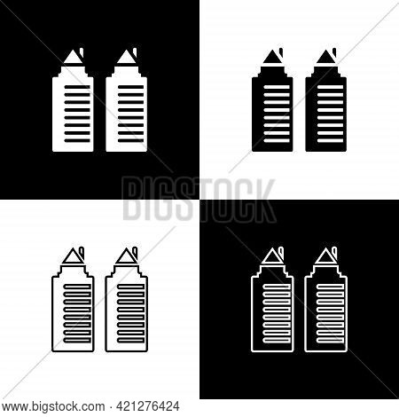 Set Two Tall Residential Towers In The Dnipro City Icon Isolated On Black And White Background. Vect