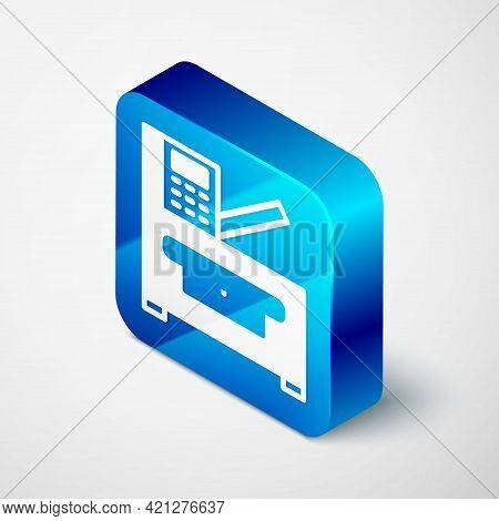 Isometric Office Multifunction Printer Copy Machine Icon Isolated On Grey Background. Blue Square Bu