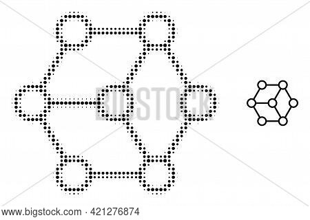 Blockchain Nodes Halftone Dot Icon Illustration. Halftone Array Contains Circle Points. Vector Illus