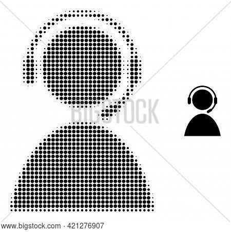 Call Center Operator Halftone Dot Icon Illustration. Halftone Array Contains Circle Points. Vector I