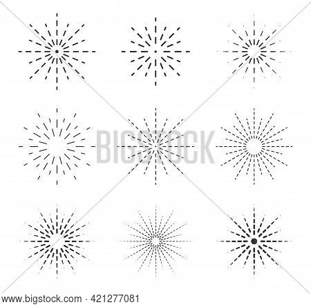 Starburst Vector Graphic Set. Sun And Star Burst Icon Collection. Abstract Detonation And Explosion.