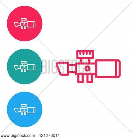 Red Line Sniper Optical Sight Icon Isolated On White Background. Sniper Scope Crosshairs. Set Icons