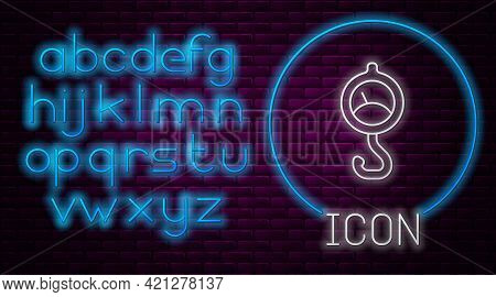 Glowing Neon Line Spring Scale Icon Isolated On Brick Wall Background. Balance For Weighing. Determi