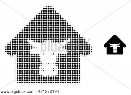 Cow Farm Halftone Dotted Icon Illustration. Halftone Array Contains Round Pixels. Vector Illustratio