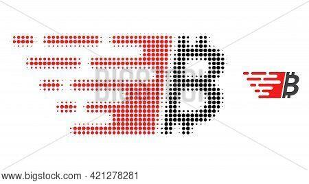 Bitcoin Halftone Dot Icon Illustration. Halftone Pattern Contains Round Elements. Vector Illustratio