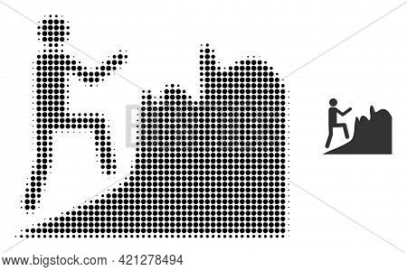 Climbing Person Halftone Dotted Icon Illustration. Halftone Array Contains Round Dots. Vector Illust