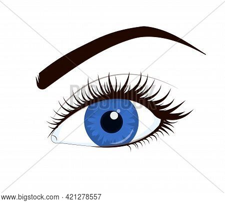 Vector Illustration Of A Blue Female Eye With Lush Lashes, Isolated On A White Background