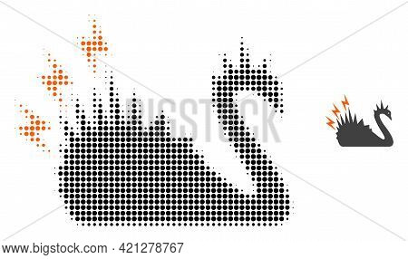 Black Danger Swan Halftone Dotted Icon Illustration. Halftone Pattern Contains Circle Elements. Vect