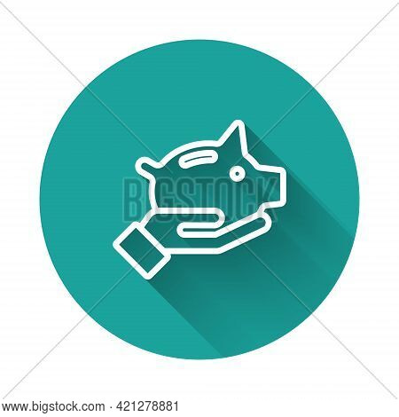 White Line Piggy Bank Icon Isolated With Long Shadow. Icon Saving Or Accumulation Of Money, Investme