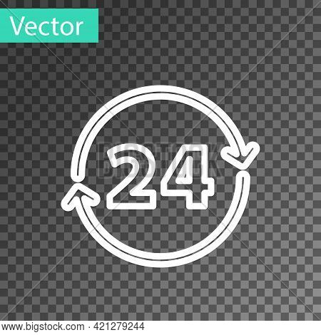 White Line Clock 24 Hours Icon Isolated On Transparent Background. All Day Cyclic Icon. 24 Hours Ser