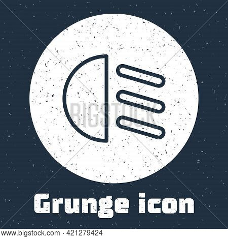 Grunge Line High Beam Icon Isolated On Grey Background. Car Headlight. Monochrome Vintage Drawing. V