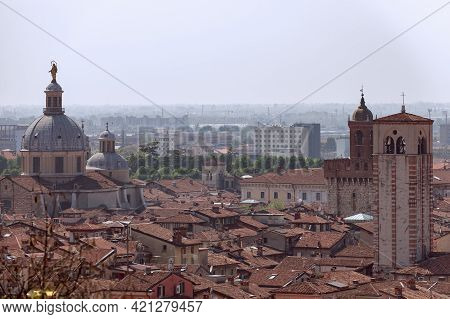 View Of The Old And Modern Part Of The Brescia City (lombardy, Italy)
