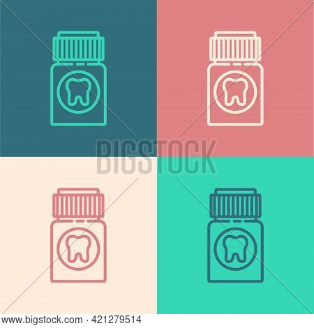 Pop Art Line Toothache Painkiller Tablet Icon Isolated On Color Background. Tooth Care Medicine. Cap