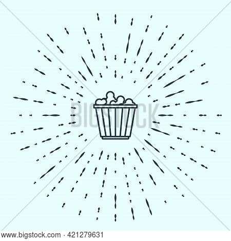Black Line Popcorn In Cardboard Box Icon Isolated On Grey Background. Popcorn Bucket Box. Abstract C