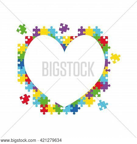World Autism Awareness Day. Colorful Puzzle Vector Design Sign. Heart Made Of Puzzle Pieces. Symbol